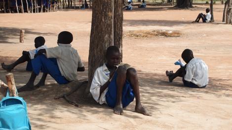 Students taking exams at Marol Academy in South Sudan
